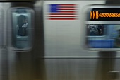 Subway train in New York, blurred motion