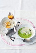 Parsley soup and Jerusalem artichoke soup