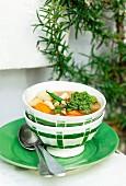 Colourful minestrone with pesto