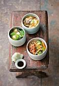 Three different oriental soups