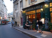 View of people in cafes restaurant in Paris, France
