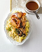 Pheasant on a bed of fruity sauerkraut