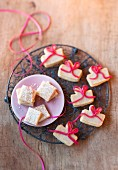 Christmas biscuits: marzipan parcels and Madeira cake slices