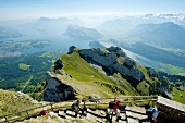 Tourist at Alps, Mount Pilatus and Lake Lucerne in Lucerne, Kriens, Switzerland