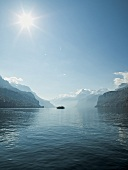 View of ship in Lake Lucerne, Alps, Lucerne, Switzerland
