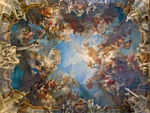 Upward view of fresco on ceiling at Versailles Palace, France