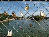 Close-up of locks on the railing at Seine Pont des Arts, Paris, France