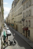 View of street alley on Ile Saint-Louis in Paris, France