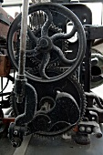 Close-up of old gears in textile and industry museum at Augsburg, Bavaria, Germany