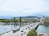View of Swan Square and Bridge, Lucerne, Switzerland