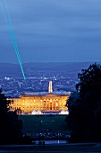 View of illumintaed Castle Wilhelm height at night in Kassel, North Hesse, Germany