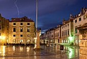 View of Luza Square and thundering sky, Dubrovnik, Croatia