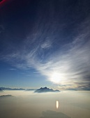 View of Mount Rigi with fog in Alps, Lake Lucerne, Lucerne, Switzerland