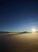 View of Mount Rigi with fog at sunrise in Alps, Lake Lucerne, Lucerne, Switzerland