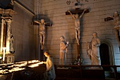 Crucifix and statues in Cathedral, Zagreb, Croatia