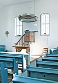 Interior of Huguenot Church in Kelze village, Hesse, Germany