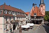 View of market square near City hall in Michel City, Odenwald, Hesse, Germany