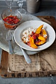 Coconut rice with pumpkin and tomato chutney
