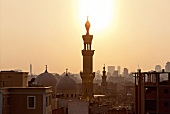 View of Al-Azhar mosque and Cairo Tower at sunset, Cairo, Aswan, Egypt