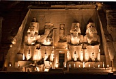 Facade of Abu Simbel Temple at night in Nubia, Egypt