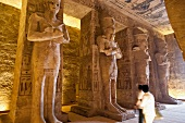 Statue of Osiris in Great Hall of Abu Simbel Temple in Nubia, Egypt