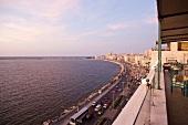 View of road along coast of Corniche, Alexandria, Egypt