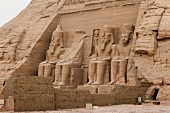 View of Ramses II sculpture outside Temple of Abu Simbe, Nubia, Egypt