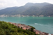 View of Lake Maggiore and mountains in Ticino, Switzerland