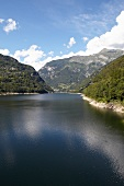 View of reservoir in the Valle Verzasca, Ticino, Switzerland