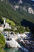 View of Community Lavertezzo in Valle Verzasca Ticino, Switzerland