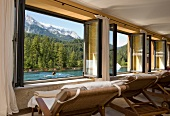 View of spa of Hotel Schloss Elmau overlooking mountains, Upper Bavaria, Germany