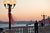 View of Bosporus and Ortakoy Mosque at sunset, Istanbul