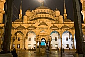 View of Blue Mosque domes from outside Sultan Ahmed Mosque, Istanbul