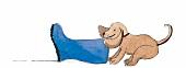 Hund beißt auf Schuh, Illustration