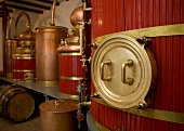 Barrels and containers in Pierre Guy distillery in Pontarlier, France