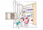 Illustration, Tisch für Nähmaschine, in Schrankwand integriert, Hobbyraum