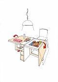 Illustration, Tisch für Puzzles, Münzen, Briefmarken, Hobbyraum
