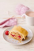 Apple strudel made from puff pastry with raspberries, suitable for pregnancy and breastfeeding mothers