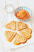Waffles with apple sauce