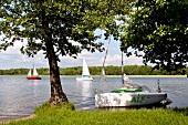 View of boat in lake in Mikolajki, Warmia-Masuria, Poland