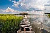 View of lake and jetty in Mikolajki, Warmia-Masuria, Poland