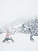 Tourist having fun at toboggan run in Uri Alps, Rigi, Lucerne, Switzerland