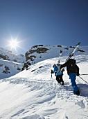 View of freeriders at Jochstock in Titlis, Uri Alps, Engelberg, Switzerland