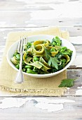 Tagliatelle with green vegetables and pesto