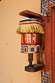 Close-up of prayer wheel in Bumthang, Bhutan