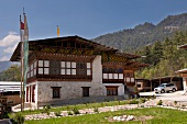 View of house in Bumthang, Bhutan