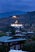 Night view of town and Paro valley, Bhutan