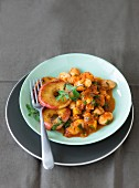 White beans with parsnips and apple rings