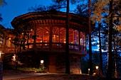 Illuminated Uma Paro hotel at night, Bhutan