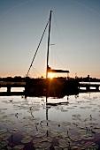 Sailboat in a lake at Mikolajki, Warmian-Masurian, Poland